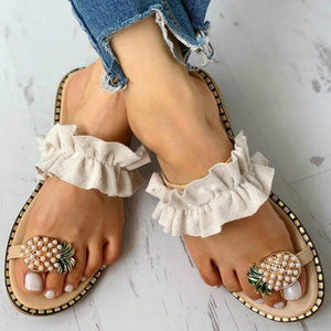 Pineapple Pearl Flat Toe Bohemian Sandals Ladies-Low Heels-Look Love Lust