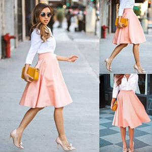 86341f0da Summer High Waist Long A Line Pleated Midi Skirt-Skirts-Look Love Lust