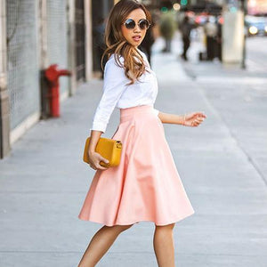 Summer High Waist Long A Line Pleated Midi Skirt-Skirts-Look Love Lust
