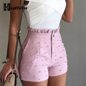 Beaded High Waisted Shorts-Shorts-Look Love Lust
