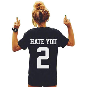 """HATE YOU 2"" Cotton T-Shirt-T-Shirts-Look Love Lust"