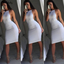 Load image into Gallery viewer, White Backless Bodycon Dress-Dresses-Look Love Lust