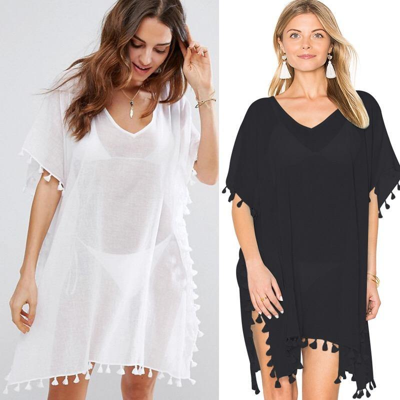 Womens Chiffon Tassel Beach Cover Up-Cover-Ups-Look Love Lust