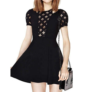 Diamond Cut-Out A-Line Mini Dress-Dresses-Look Love Lust