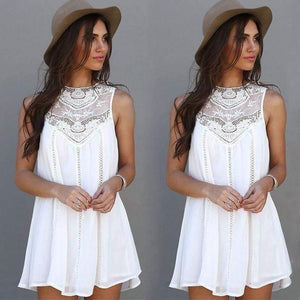 White Floral Lace Swing Dress-Look Love Lust