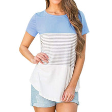 Load image into Gallery viewer, Stripe Short Sleeve Blouse-Blouses-Look Love Lust