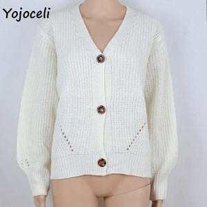Knitted Loose V Neckline Cardigan-Cardigans-Look Love Lust