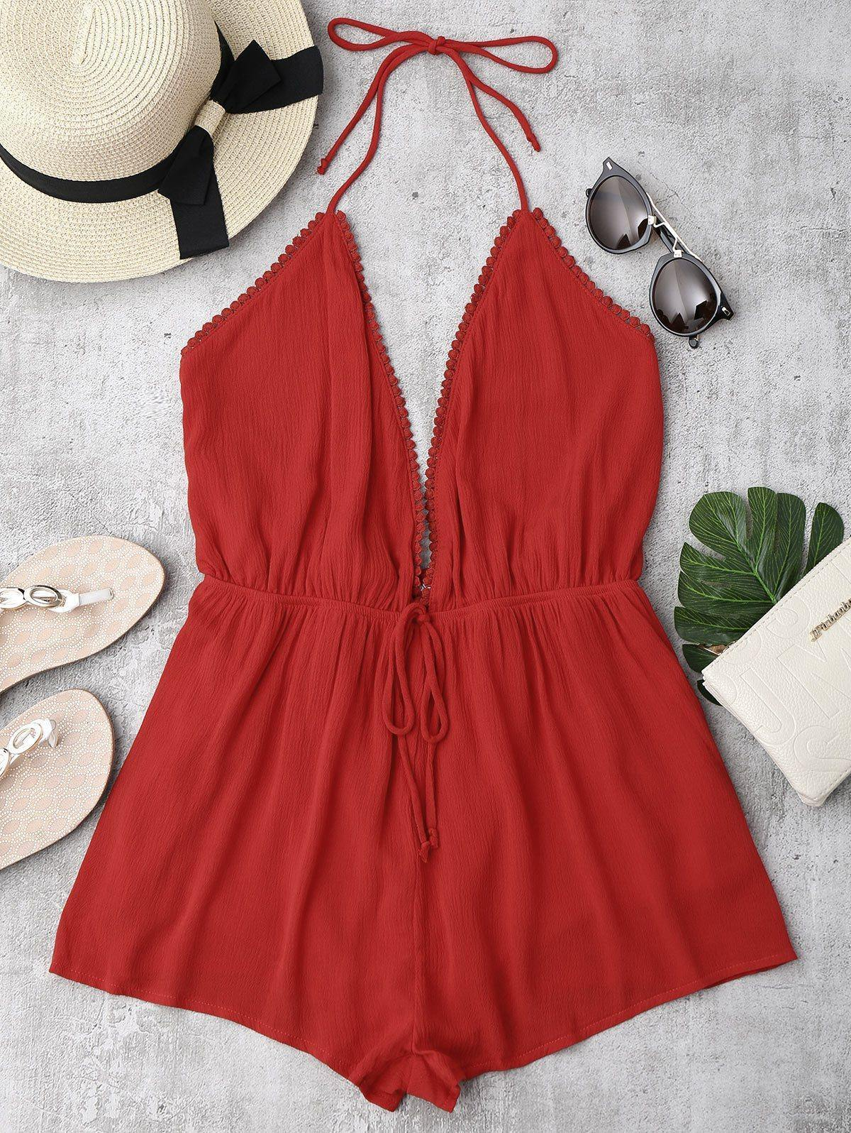 Sexy Me Halter Open Back Romper-Look Love Lust