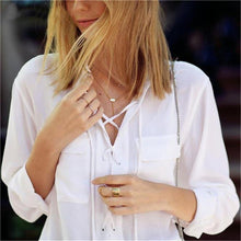 Load image into Gallery viewer, Turn Down Collar Deep V Lace Up Chiffon Blouse-Shirt-Look Love Lust