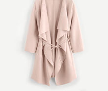 Load image into Gallery viewer, Knee Length Waterfall Collar Wrap Trench Coat With Belts-Outerwear-Look Love Lust