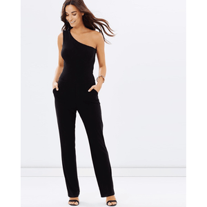 One Shoulder Pantsuit - Black-Women - Apparel - Jumpsuits/Rompers-Look Love Lust