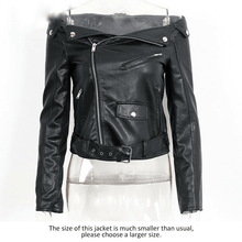 Load image into Gallery viewer, Off Shoulder Faux Leather Motorcycle Jacket-Outerwear-Look Love Lust