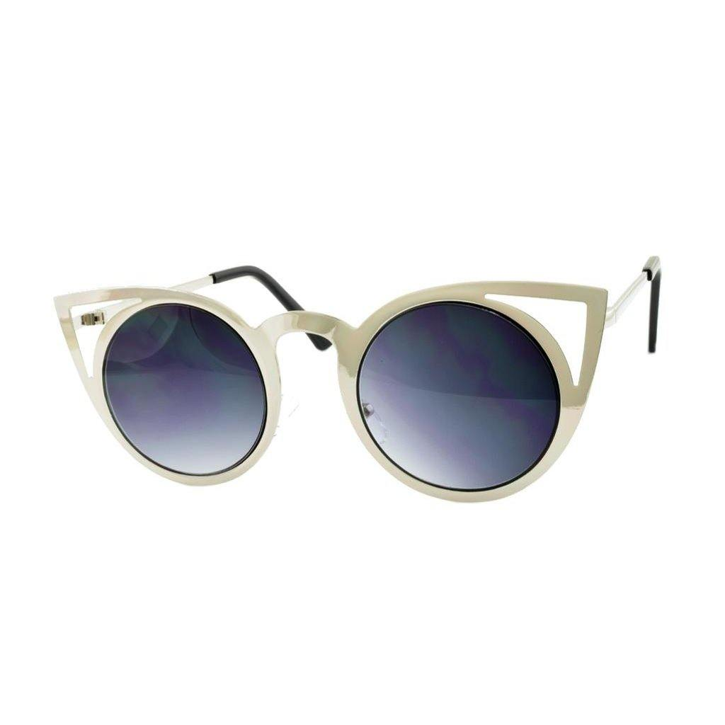 Silver Cateye Metal Sunglasses-Women - Accessories - Sunglasses-Look Love Lust