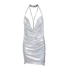 Load image into Gallery viewer, Deep-V Halter Sequin Dress-Casual Dresses-Look Love Lust