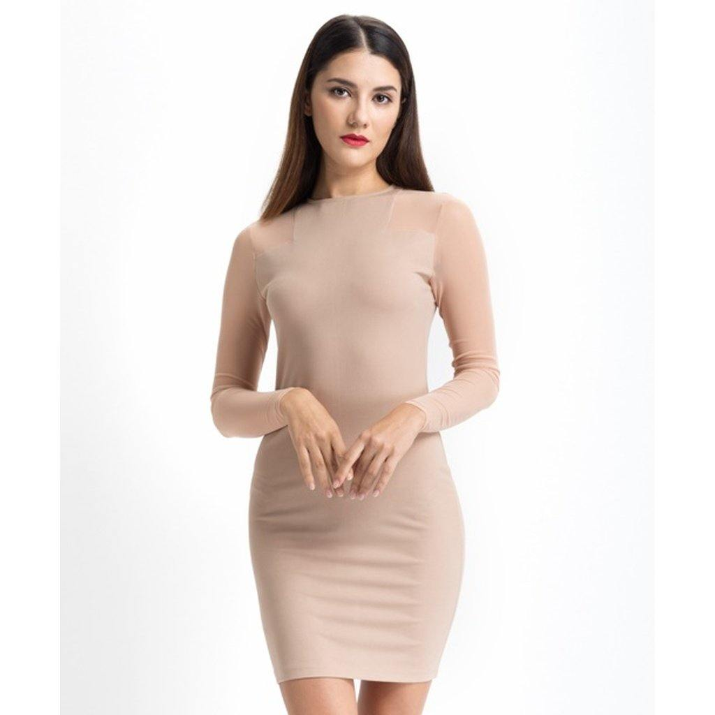 Solid Beige Mesh Dress-Women - Apparel - Dresses - Casual-Look Love Lust