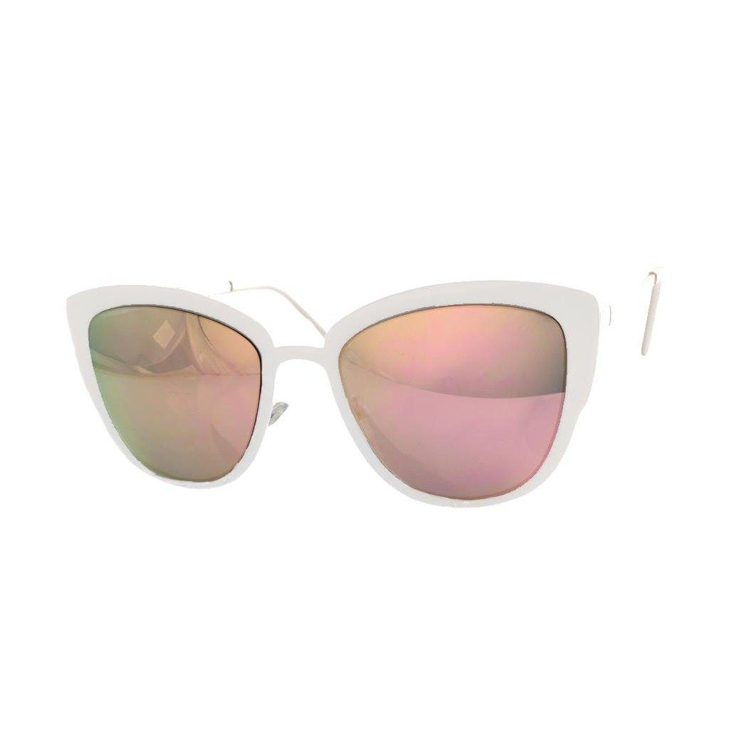 White Metal Mirror Sunglasses-Women - Accessories - Sunglasses-Look Love Lust