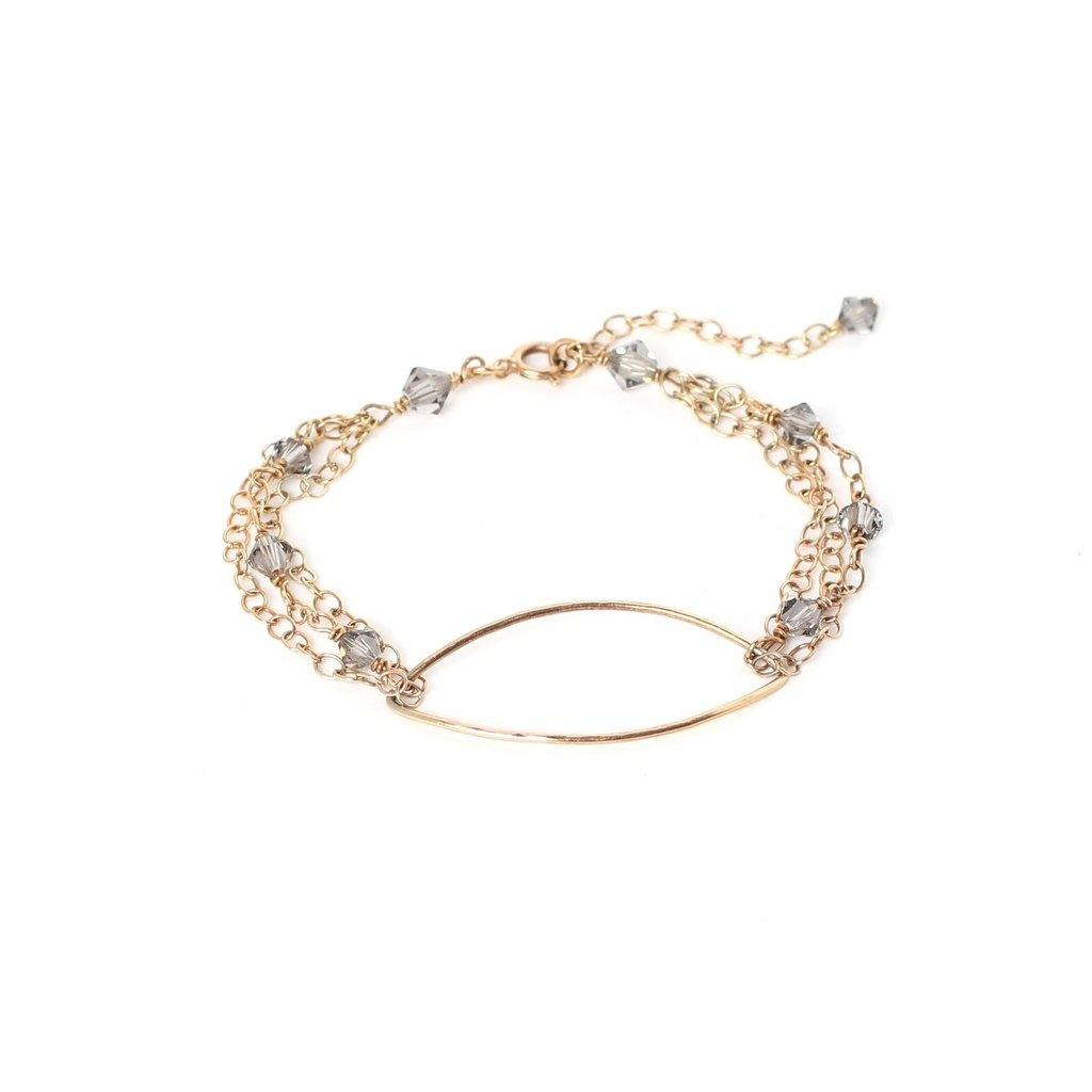 Oval Bracelet with Swarovski Crystals-Women - Jewelry - Bracelets-Look Love Lust