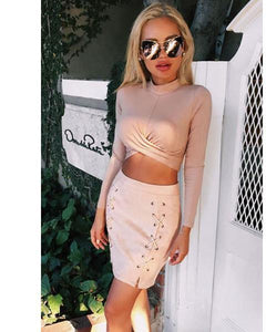 Long Sleeve Criss Cross Crop Top-Blouse-Look Love Lust