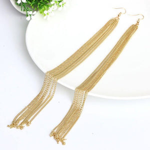 Below Shoulder Length Tassel Earrings-Earrings-Look Love Lust
