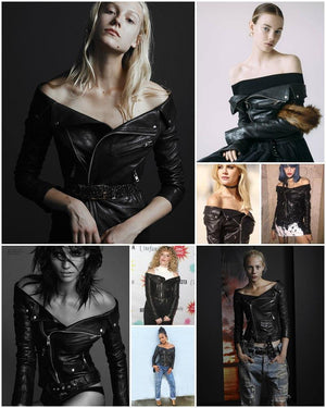 Off Shoulder Faux Leather Motorcycle Jacket-Outerwear-Look Love Lust