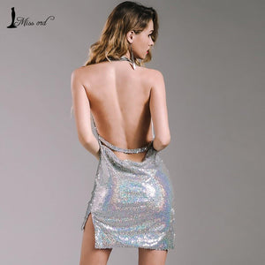 Deep-V Halter Sequin Dress-Casual Dresses-Look Love Lust
