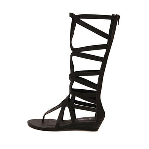 Knee High Gladiator Flip Flop Flats-Shoes-Look Love Lust
