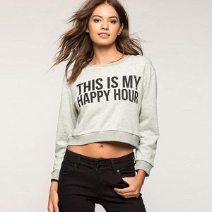This is my Happy Hour Cropped Sweatshirt-Sweatshirt-Look Love Lust