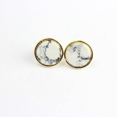 White Turquoise Stone Gold Geometry Stud Earrings-Earrings-Look Love Lust