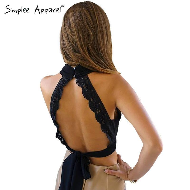 Backless Lace Halter Top - Tops -  Look Love Lust