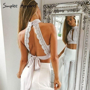 Backless Lace Halter Top-Tops-Look Love Lust
