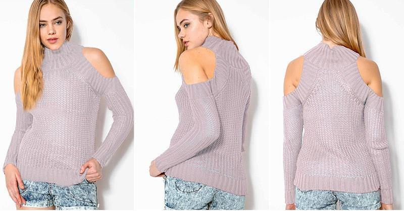 Cut Out Turtleneck Sweater-Sweaters-Look Love Lust