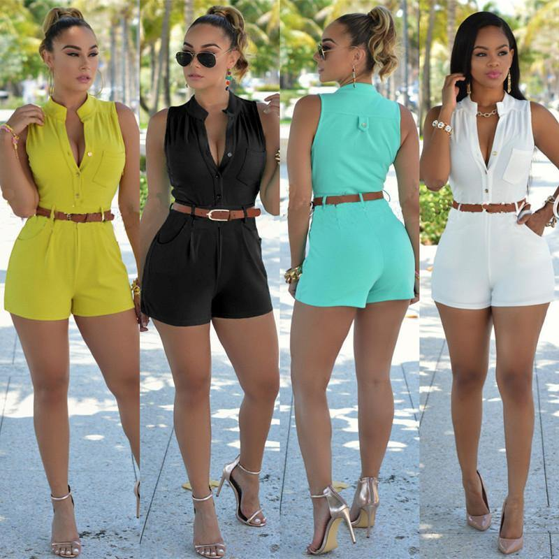 Sleeveless Belted Romper Jumpsuits Look Love Lust