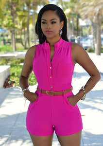 Sleeveless Belted Romper Jumpsuits-Shorts-Look Love Lust