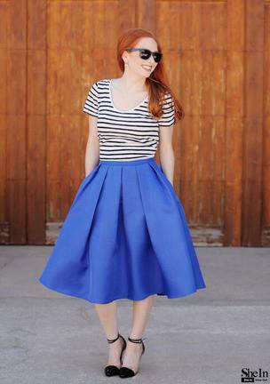 Casual Flare High Waist Pleated Pockets Vintage Midi Skirt-Skirts-Look Love Lust