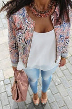 Load image into Gallery viewer, Fanala Print O neck Bomber Jacket-Outerwear-Look Love Lust