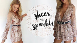 Deep V Neck Sequin Jumpsuit Romper-Rompers-Look Love Lust