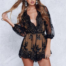 Load image into Gallery viewer, Deep V Neck Sequin Jumpsuit Romper-Rompers-Look Love Lust