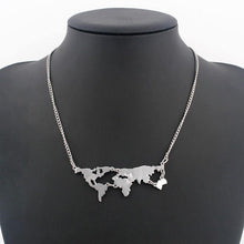 Load image into Gallery viewer, Gold Plated World Map Pendant Necklace-Necklaces-Look Love Lust