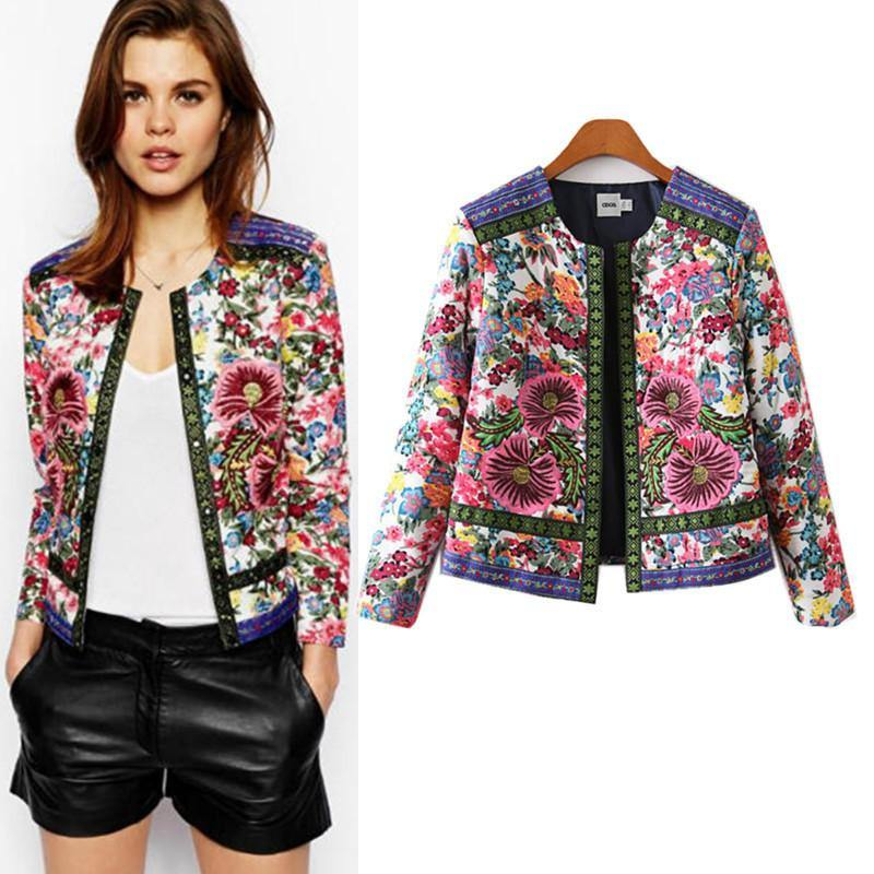 Retro Floral Embroidery Print Jacket-Outerwear-Look Love Lust