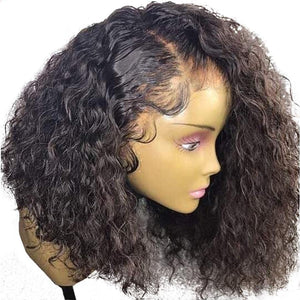 Brazilian Curly 360 Lace Frontal Wig Pre Plucked With Baby Hair 180% Density Short Human Hair Bob-Look Love Lust