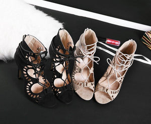 Designer Lace Cut Out Open Toe Gladiator Party High Heels - Shoes -  Look Love Lust