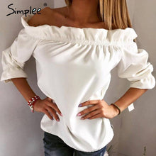 Load image into Gallery viewer, Ruffle Off Shoulder Top-Tops-Look Love Lust