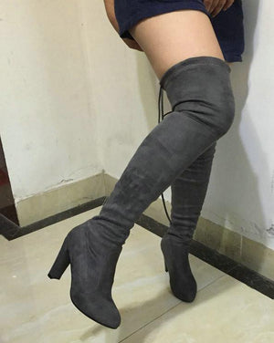 Stretch Faux Suede Slim Thigh High Over Knee Boots-Boots-Look Love Lust