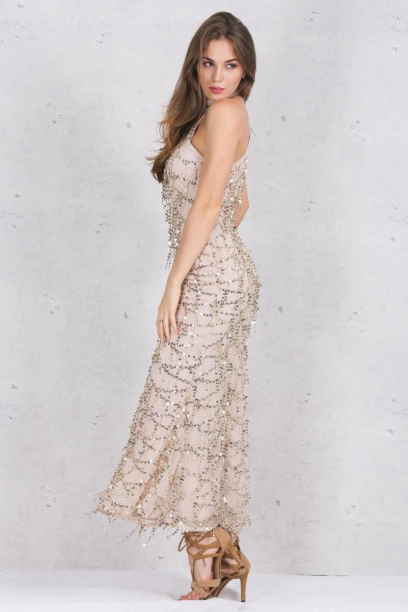 Elegant Sequin Tassel Mermaid Maxi Dress-Casual Dresses-Look Love Lust