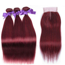 Load image into Gallery viewer, Burgundy Brazilian Straight Hair 3 Bundles With Closure-Look Love Lust