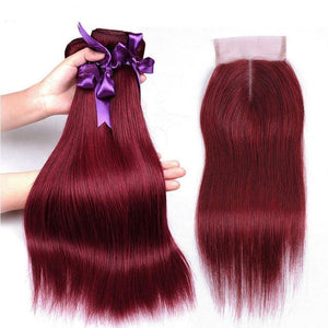 Burgundy Brazilian Straight Hair 3 Bundles With Closure-Look Love Lust