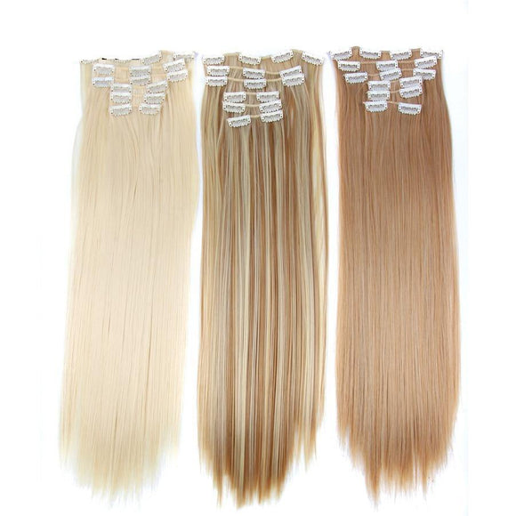 16clips Long Straight Synthetic Hair Extensions-Look Love Lust
