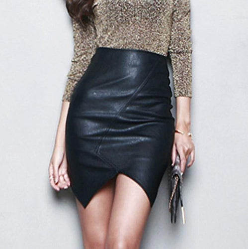Black Asymmetric High Waist Short Leather Pencil Skirt-Skirts-Look Love Lust