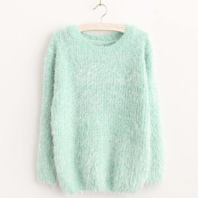 Mohair O-Neck Pullover Long Sleeve Loose Casual Sweater-Sweaters-Look Love Lust