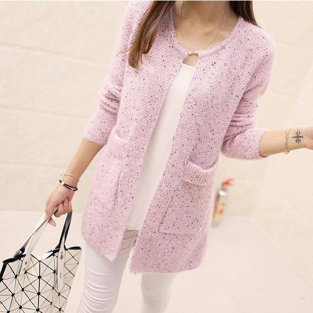 Long Sleeve Knitted Cardigan-Sweaters-Look Love Lust